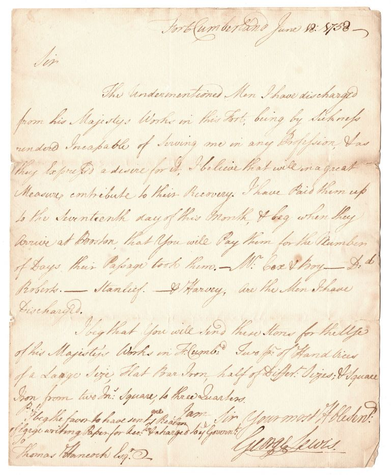 [Autograph letter from a soldier at Fort Cumberland to Thomas Hancock of Boston]. George Lewis.