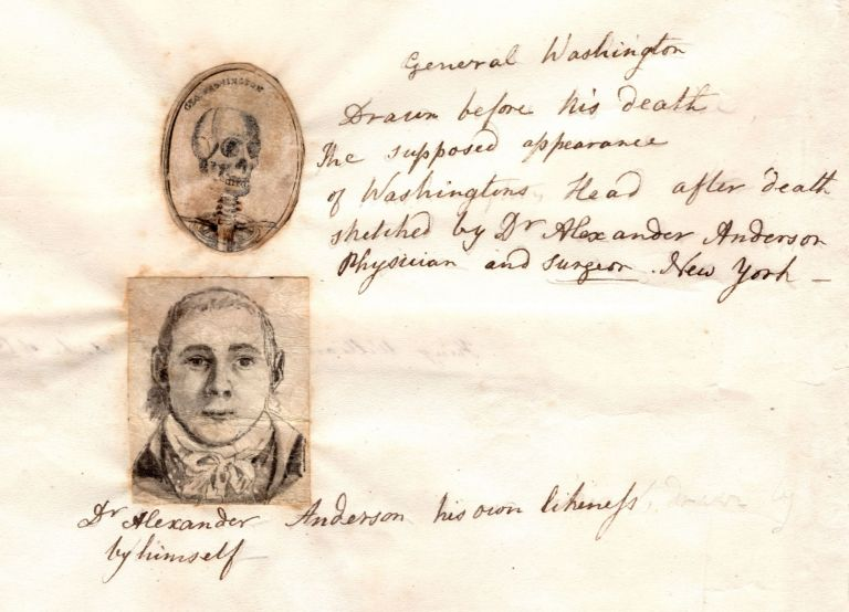 [A pair of original drawings, one being a self-portrait and the other a representation of George Washington's skull]. Alexander Anderson, artist.