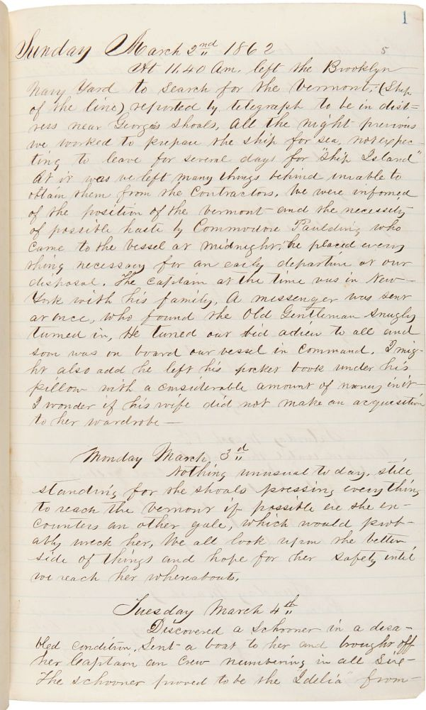 [Onboard the U.S.S. Dacotah in pursuit of the Merrimac during the Civil War, with a vivid description of the Merrimac's destruction, and including important passages describing interactions with runaway slaves, encounters with President Lincoln, and Peltz's experiences with yellow fever]. Philip G. Peltz.