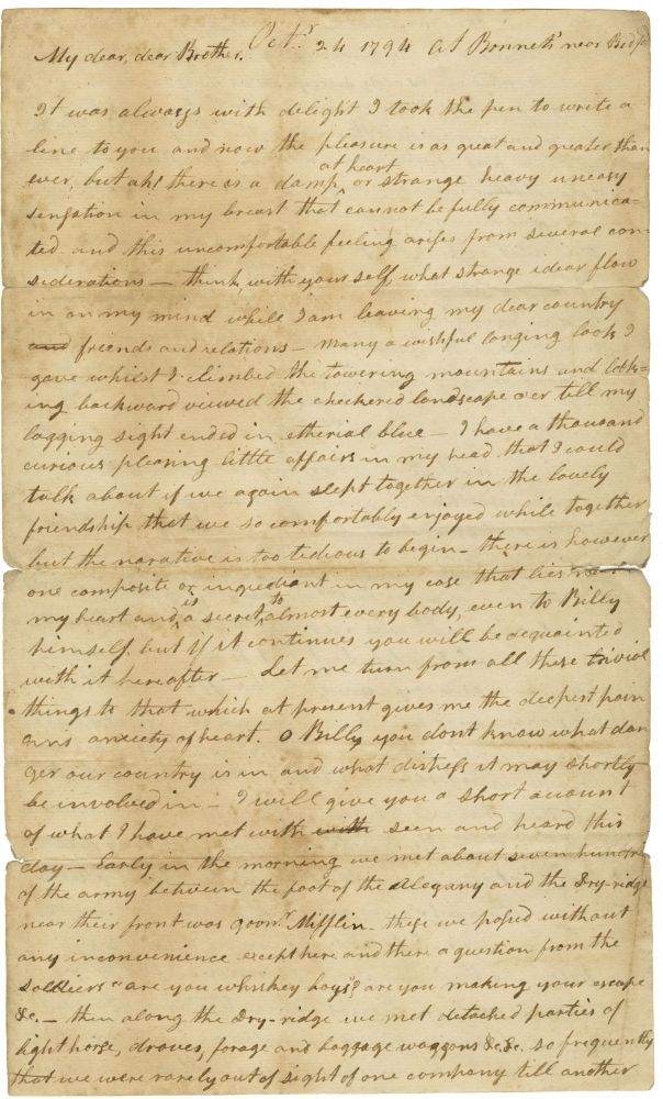 [Autograph letter, signed, from Robert Patterson to William Canon, discussing the Whiskey Rebellion in western Pennsylvania, the federal troops sent to crush it, his detention and interrogation, and an encounter with Alexander Hamilton.]. Robert Patterson.