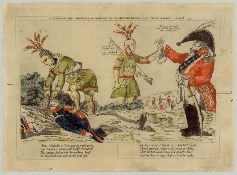 A Scene on the Frontiers as Practiced by the Humane British and their Worthy Allies! L. G., after William Charles.