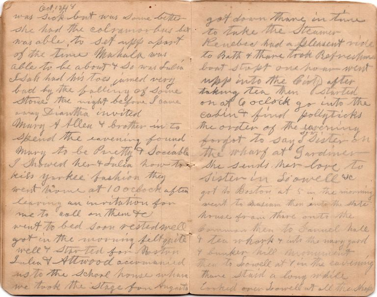 [Diary of a Pennsylvania man who visits Maine, Massachusetts, and Indiana in the 1840s.]. Elias Morse Pierce.