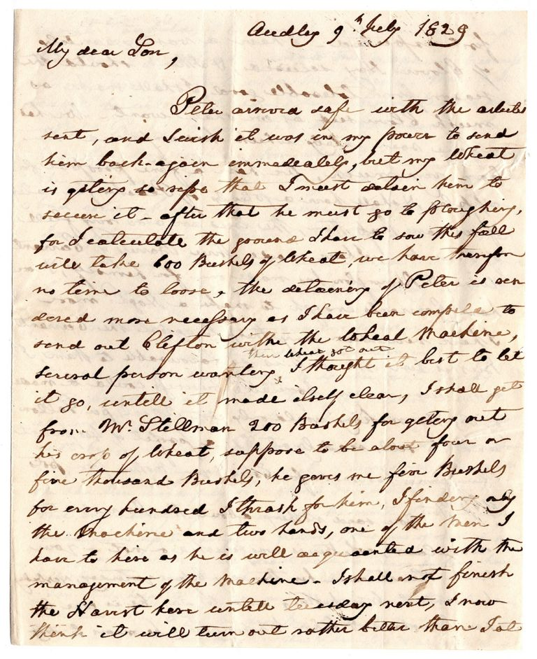 [Autograph letter to his son Lorenzo on agricultural and other matters.]. Lawrence Lewis.