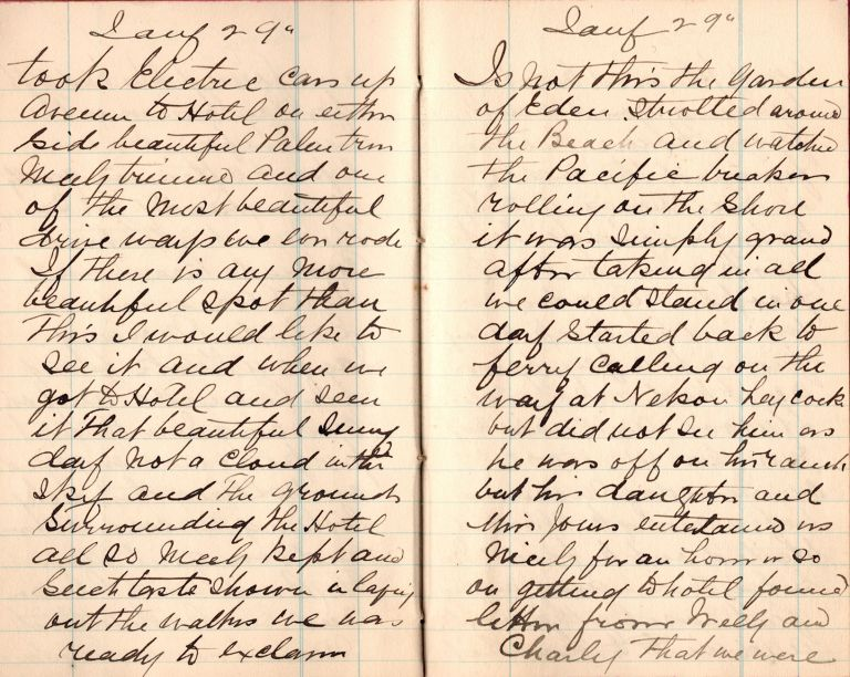 [A Canadian's manuscript travel diary of a trip to California and the Pacific Northwest]. L. Benedict.