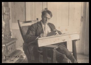 Robert Frost, in His Writing Chair. Robert Frost