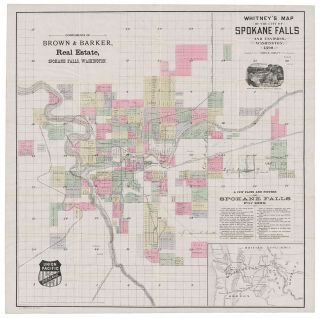 Whitney's Map of the City of Spokane Falls and Environs, Washington. Compiled by John K. Ashley...