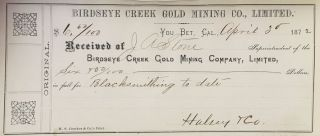 Receipt Book of the Birdseye Gold Mining Company