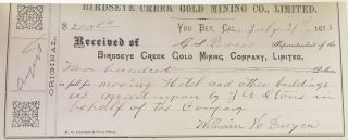 [Receipt Book of the Birdseye Gold Mining Company].