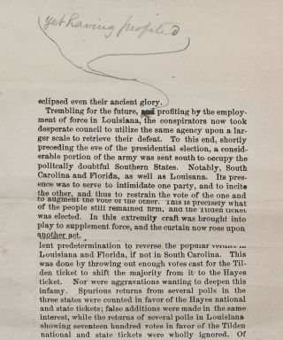 [Galley Proof of an Anti-Grant Speech Delivered by General John A. McClernand before the Great Citizen's Convention at Springfield, Illinois, January 8th, 1876].