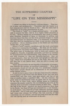 "The Suppressed Chapter of ""Life on the Mississippi."". Mark Twain, Samuel Langhorne Clemens."