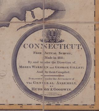 Connecticut, From Actual Survey, Made in 1811; By and under the Direction of, Moses Warren and George Gillet; And by them Compiled.