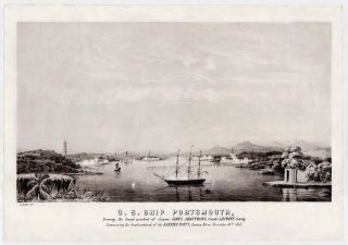 U. S. Ship Portsmouth, Bearing the broad pendent of Commo. James Armstrong, Com'dr. A. H. Foote, Com'dg. Commencing the bombardment of the Barrier Forts, Canton River, Nov. 16th, 1856. J. L Keffer, delin.