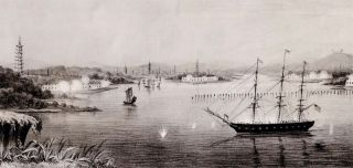 U. S. Ship Portsmouth, Bearing the broad pendent of Commo. James Armstrong, Com'dr. A. H. Foote, Com'dg. Commencing the bombardment of the Barrier Forts, Canton River, Nov. 16th, 1856.
