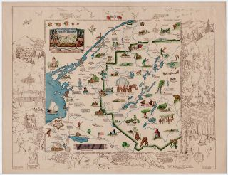 A Romance Map of the North Country. [Secondary title:] Pictorial and Historic Map of Northern New York. N. Jane Phelps, illus., James G. Riggs, compiler., Josephine W. Wickser, adviser.
