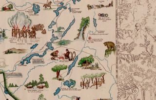 A Romance Map of the North Country. [Secondary title:] Pictorial and Historic Map of Northern New York.