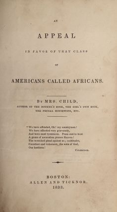 An Appeal in Favor of that Class of Americans Called Africans.