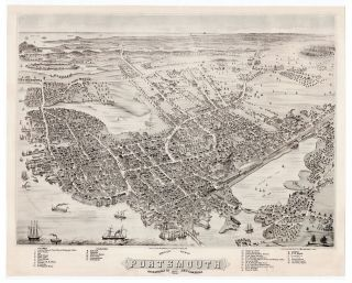 Bird's Eye View of Portsmouth Rockingham Co. New Hampshire 1877. Albert Ruger.