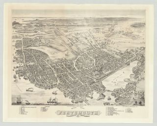 Bird's Eye View of Portsmouth, Rockingham Co. New Hampshire 1877. Albert Ruger