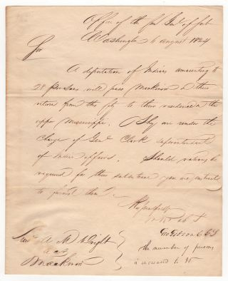 Letter to Lieutenant A. M. Wright in Mackinac about a Deputation of Indians Led by William...