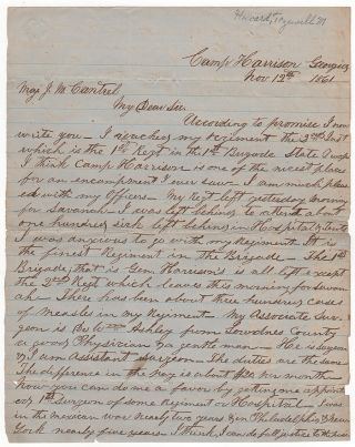 Manuscript Civil War Letter by a Confederate Assistant Surgeon Attempting to Secure Post as...