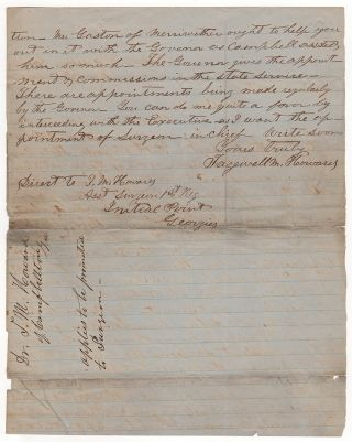 [Manuscript Civil War Letter by a Confederate Assistant Surgeon Attempting to Secure Post as Surgeon in Chief].