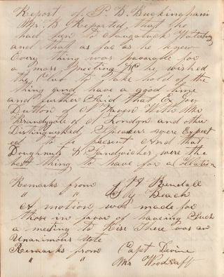 [Meeting Minutes for the Wide Awakes of Seymour, Connecticut.]. George C. Cary.