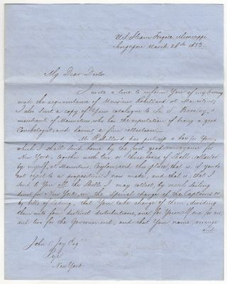 [Letter Signed, To Eminent Conchologist John Jay Regarding Shell Collection and Classification]. Matthew C. Perry.