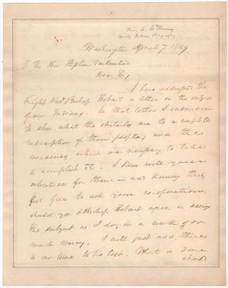 "[Urgent Manuscript Letter to Stephen Van Rensselaer Regarding ""our Indians"" during the Lead Up to the Trail of Tears]. Thomas Loraine McKenney."