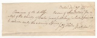 Manuscript receipt for a copy of his Map of Boston and Vicinity.]. John G. Hales
