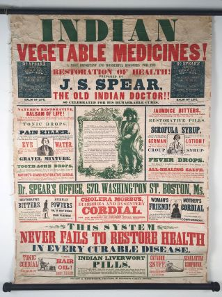 Indian Vegetable Medicines! A Most Important and Wonderful Discovery for the Restoration of Health! Prepared by J. S. Spear, the Old Indian Doctor!! So Celebrated for his Remarkable Cures. J.esse S. Spear.