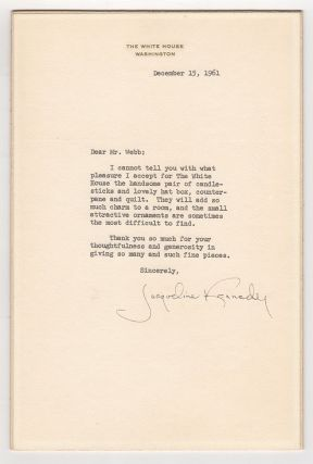 Typed Letter Signed by Jackie Kennedy]. Jacqueline Kennedy