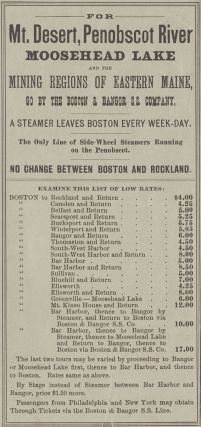 Daily Line to Mt. Desert and Moosehead Lake via the Boston and Bangor Steamers.