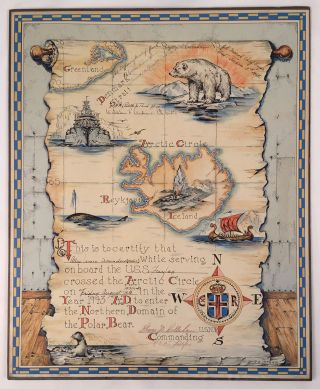 [U.S. Naval Certificate of Passage Into The Arctic Circle.]. R. B. Starr, artist.