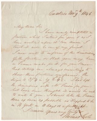 [A letter to a patron regarding one of Cole's finest paintings]. Thomas Cole.