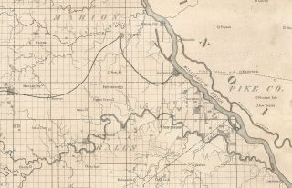Map of the Hannibal & St. Joseph Rail Road, Designating Lands granted by Act of Congress, to Aid in its Construction.