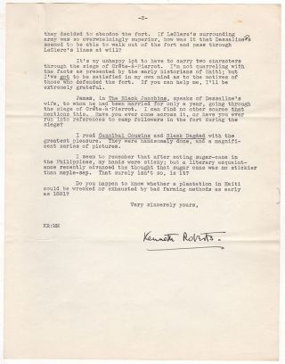 Novelist Kenneth Roberts' Correspondence With an Authority On Haitian History For His Novel...