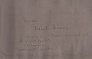 Residence [of] Albert L. Sessions Bristol Connecticut. Architects Griggs & Hunt Contractors Stoddard & Caulkins Begun April 1902 Occupied February 29 1904 [from manuscript title page].