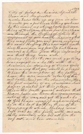 [Mexican War soldier's letter on the Battle of Cerro Gordo.]. William Dorrance, J.