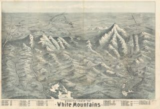 Birds Eye View of the White Mountains. printer, Brooks Bank Note, Lith'g Co.