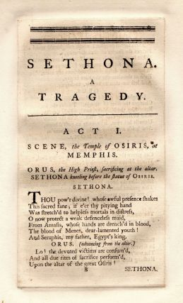 Sethona. A Tragedy. As it is Performed at the Theatre-Royal in Drury Lane.