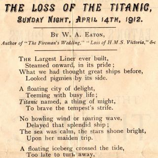 Eaton's Popular Poems. No. 57. The Loss of the Titanic, Sunday Night, April 14th, 1912.