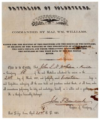 Battalion of Volunteers. Commanded By Maj. Wm. Williams. Raised for the Defense of the Frontiers...