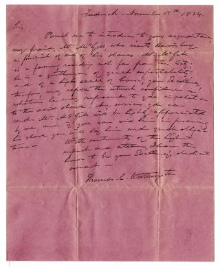 A letter to the Governor of Pennsylvania in pursuit of a runaway slave.]. Thomas Contee Worthington