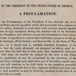 Reopening of Ports, Except Four in Texas; Disallowing Belligerent Rights in Certain Cases; and Removing Certain Restrictions on Trade. By the President of the United States of America. A Proclamation.