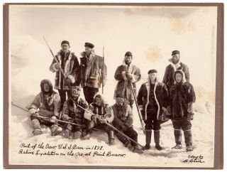 Part of the Crew, U.S.S. Bear in 1898. Relive [sic] Expedition on the Ice, at Point Barrow. H....