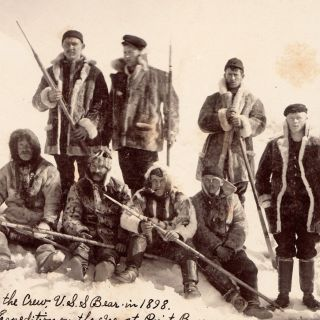 Part of the Crew, U.S.S. Bear in 1898. Relive [sic] Expedition on the Ice, at Point Barrow.