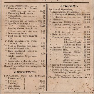 Fee Bill Adopted by Stillwater Medical Society at Freeport, Ohio, On the 29th day of August, 1867.