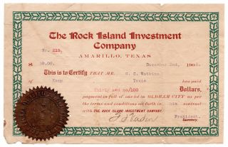 [Oldham City, Texas and Rock Island Investment Co. archive].