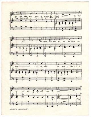 March of the Townsendites: Words and Music by U. S. A. Heggbolm, Max Bates, and Harmon Charles.