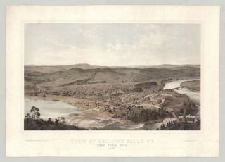 View of Bellows Falls Vt. From Table Rock. June, 1855. daguerreotypist S. W. Hull, after